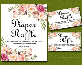 Floral Baby Shower Diaper Raffle Insert Card & Sign, Peach boho Baby Shower Invitation insert - diaper raffle ticket, INSTANT DOWNLOAD 021
