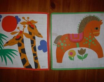 2 Vintage Children's Hankies - Vintage 1960's Giraffe Pony Child's Hankie Hankies - Cartoon Giraffes Merry Go Round Pony Hankie Linen