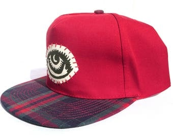 Plaid Brim - Red Woodcut Patch Five Panel Snapback Hat