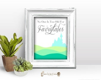 Fairy tale Wall Art Printable - princess nursery home decor disney quote blue green instant download  fairytales castle
