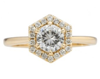 Hexagon Halo Ring with 1.00ct Moissanite