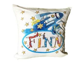 Cheep cuddly pillow pillow 40 x 40 cm, Rosi Rosinchen rocket
