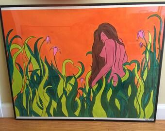 Original Hand Painted Garden of Love 60's Framed Poster