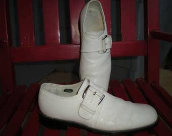 Vtg 70's Men's White Leather Monk Strap Florsheim Imperial Shoes Size 7 C
