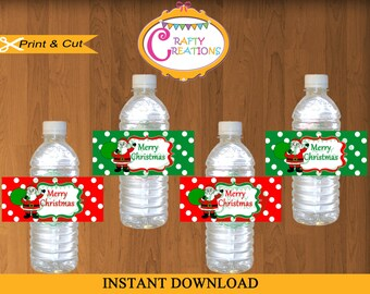 INSTANT DOWNLOAD Christmas Water Bottle Label - Christmas Water Bottle Sticker - Water Bottle Label - Water Bottle Wrapper - CraftyUAE