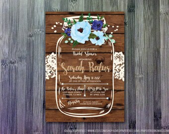 Lace Mason Jar Bridal Shower Invitation | Baby Shower | BS32