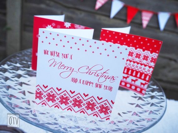 CHRISTMAS - Personalised - Nordic - Patterned - Red and White - Christmas Cards - PRINTABLE - PDF - Digital