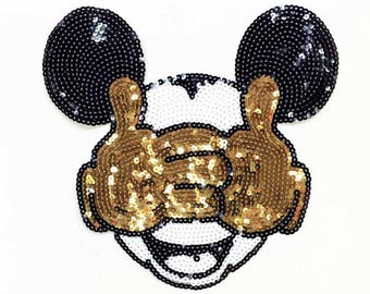 Disney Patches Mickey Mouse Sequin Patch Large Iron on Applique 039