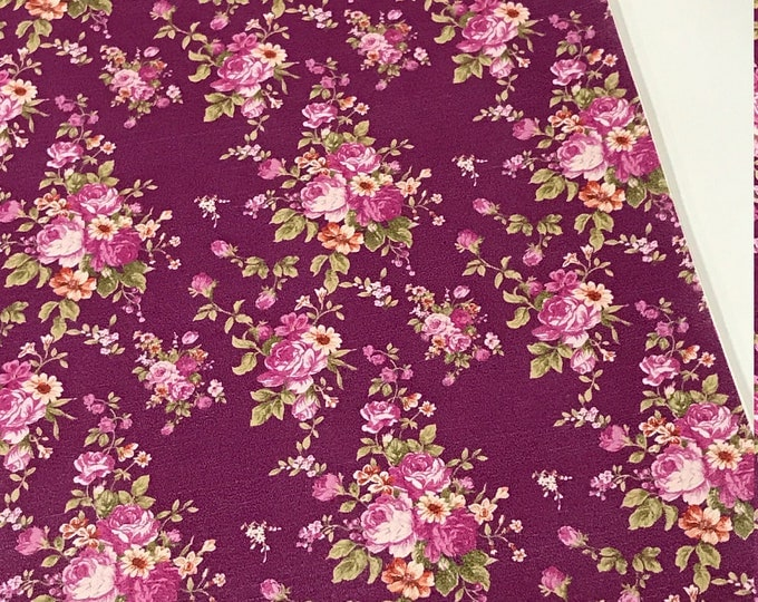 Floral Roses in Purple Soft Leatherette Floral PU Leather A4 Sheet 210 x 297mm Floral Leather Bows Floral Leather Headbands