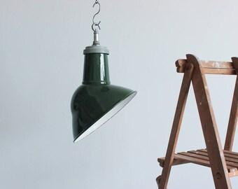 Vintage Industrial Green Asymmetric Thorlux Enamel Pendant Light Shade