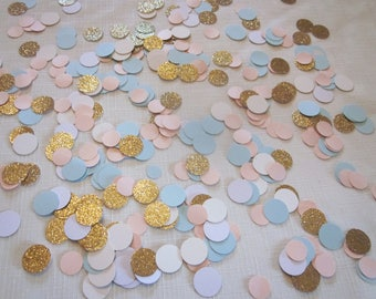 Gold Glitter, Pink, Blue Confetti - Gender Reveal, Photo Prop, Table Confetti