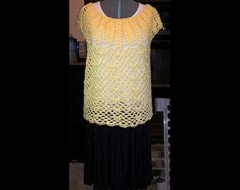 Crochet top - Beautiful yoke, pineapple, open crochet, sunshine, yellow