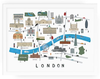 London map illustrated print - map print illustration london map london map print london art london map art london print london wall art
