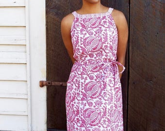 Fair Trade Pink Pomegranate Shift Dress with Pockets