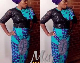 Ankara and Tulle Lace Midi Dress