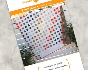 Printed quilt pattern - Patch Nine - full color instructions, modern design