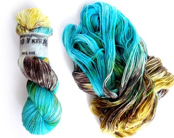 Sock Yarn Superwash Merino/Nylon 85/15 4ply Handdyed Yarn: PATINA
