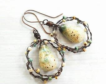 Ceramic drop earrings - wire wrapped earrings - copper hoop earrings- lemon speckled earrings