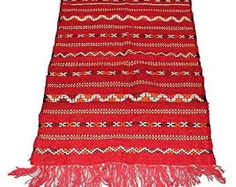 Authentic Moroccan Handmade Handwoven Kilim 100% Wool Rug - Red Black & Orange - 1.14 x 0.75 m