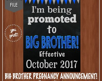 Big Brother Pregnancy Announcement - Big Brother - Pregnancy Announcement - I'm Being Promoted To Big Brother - Big Brother To Be - Blue