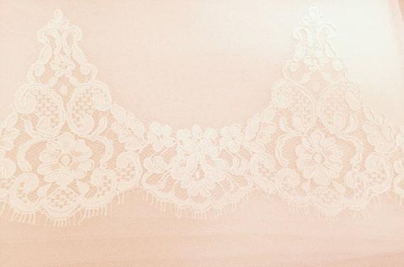Blush French Lace, Alencon Lace Swatch , Drop Veil, Waltz Veil , Blush Mantilla