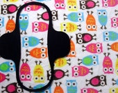 Carnival Owls Minky top Menstrual / incontinence pad, Pampered Shop, You choose size/absorbency