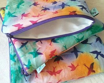 Rainbow Birds | Cloth Pad Wetbag | SMALL