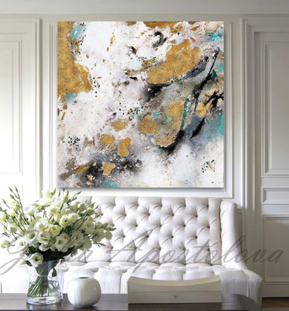 Gold Leaf Painting Black White Gold Art Abstract Print