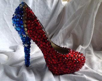 Jeweled superhero heels