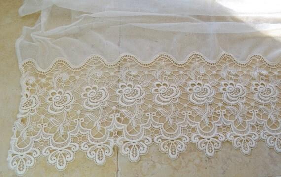 Antique Belgian Lace Curtain Panel 1920s or 1930s Vintage