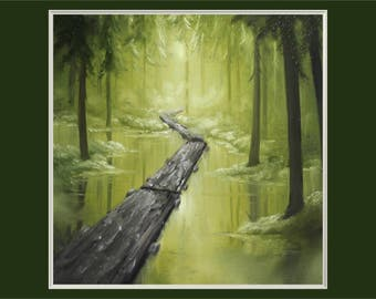 "Original 10x10"" Oil Painting - Forest Swamp Wall Art"