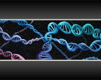 """Original 12x36"""" Oil Painting - DNA Chemistry Science Wall Art"""