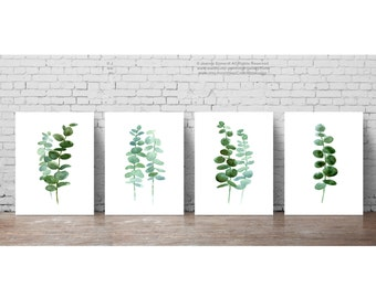 Eucalyptus Leaves set 4 Botanical Prints, Minimalist Scandinavian Room Decoration, Green Leaf Botanical Plant Poster, Kitchen Illustration