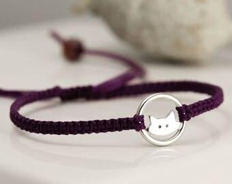 Sterling Silver Cat Bracelet - Totem Animal Friendship Bracelet - Good Luck Bracelet