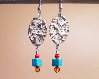 Fine Silver Dangles with Gemstones