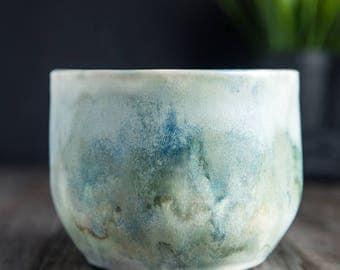 Ceramic Handmade, Weathered Bronze and Cream Glaze Vase