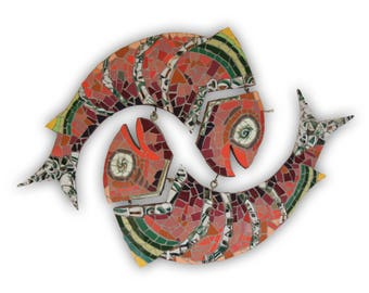 Recycling Art: mosaic pair of fishes, optional colour schemes