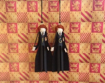 Fred and George Weasley Clothespin Doll Ornaments