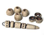 SPIKE and BEADS SET: Stoneware pendant beads, rustic, natural, earthy, ceramic beads - handmade jewelry components