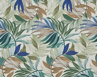 Teal Beige and Green Various Vibrant Leaves Indoor Outdoor Upholstery Fabric By The Yard | Pattern # A239