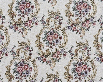 Burgundy Green And Blue Floral Tapestry Upholstery Fabric By The Yard | Pattern # F641