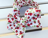 Baby Toddler Girl's Headwrap Big Bow Cotton Headband turban bandana hair wrap accessories in summer strawberry festival red white fabric