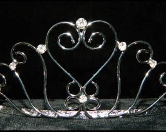 Style # 15746 - Standing Tall Heart Tiara with Rhinestones and Combs