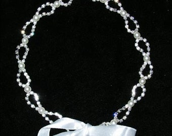 Style # 15098 - Bow with Pearls Flexible Headband