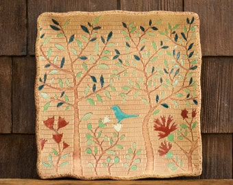 Ceramic Blue Bird Tree of Life Square Plate / Food & Dishwasher Safe / Housewarming or Wedding Gift / Woodland Turquoise Bird / IN STOCK