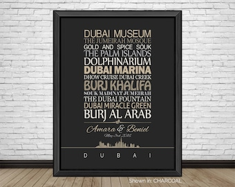 Dubai, Travel Print, Dubai Sightseeing, Famous Places, Travel Destinations, Vacation, Honeymoon, City Prints, Gift for Couples, Art Print