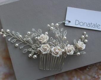 Bridal  Hairpiece Wedding Hair Piece Wedding hair comb Bridal hair comb Bridal hair piece Rose Wedding headpiece Ivory Wedding - SANDRA