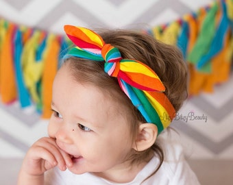 Rainbow Turban Striped Bow Knot Headband Girls Hair Accessory