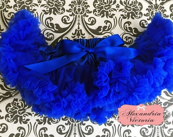 ROYAL BLUE PETTISKIRT with Bow,  Royal Blue Tutu, Newborn Pettiskirt, Baby Pettiskirt, Toddler Pettiskirt, Smash Cake, Birthday Outfit.
