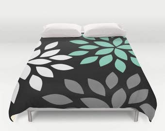 Floral Duvet Cover, Black White Grey Lucite Green, Doona Cover, Comforter Cover, Twin Queen King Bedding
